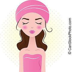 smukke, lyserød, kvinde, ), (, isoleret, kurbad, hvid
