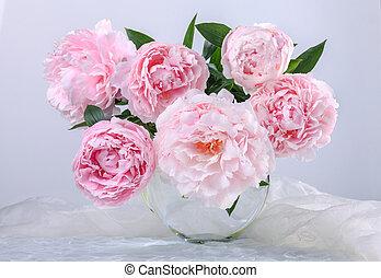 smukke, lyserød, peonies
