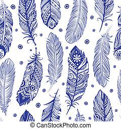 smukke, mønster, fjer, seamless