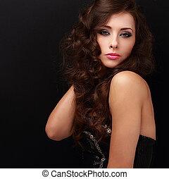 smukke, makeup, kvinde, poser, hos, længe, curly, hair., closeup