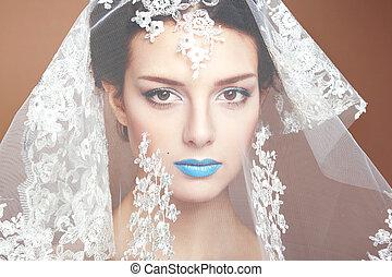 smukke, mode, fotografi, under, hvid, slør, kvinder