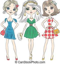 smukke, mode modellerer, top, piger, vektor