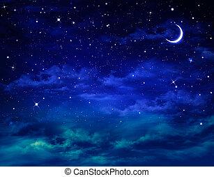 smukke, nightly, baggrund, himmel