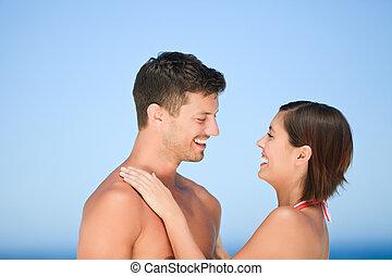 smukke, par, strand