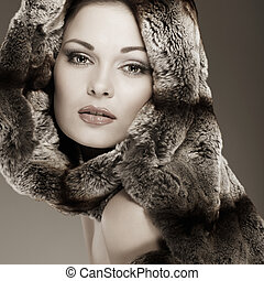 smukke, pels, fotografi, pige, kønslige, klæder