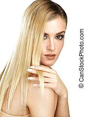 smukke, perfekt, blonde, hende, viser, hår, model, glatte