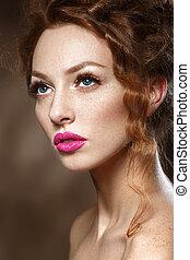 smukke, perfekt, mode, skønhed, curly, sunde, glatt, længe, skin., kvinde, hår, makeup., stilfuld, model, pige, rød, eyelashes.