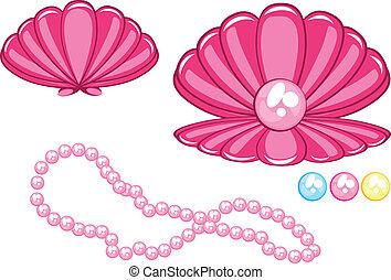 smukke, perle, marin, cockleshell