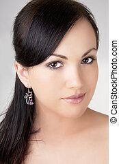 smukke, pige, brunette, earring.