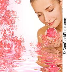 smukke, pige, hos, aroma, bad, bold, ind, rendered, vand