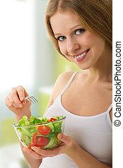 smukke, pige, hos, grønsag, vegetarianer, salat