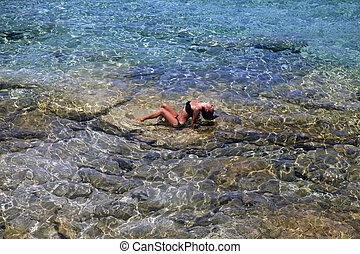 smukke, pige, middelhavet, transparent, hav