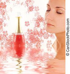 smukke, pige, zeseed, og, parfume, ampul, ind, rendered,...