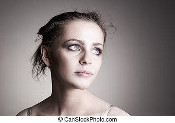 smukke, portræt, kvinde, unge
