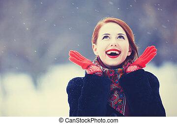 smukke, redhead, park., vinter, kvinder