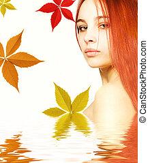 smukke, redhead, pige, ind, rendered, vand