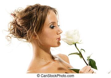 smukke, rose, hvid, kvinde, topløs