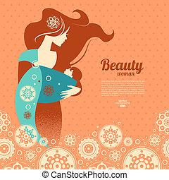 smukke, silhuet, slynge, baby, baggrund, mor, blomstrede
