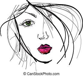 smukke, skitse, kvinde, face., illustration, vektor