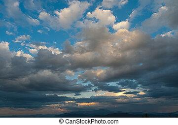 smukke, skyer, dramatisk himmel