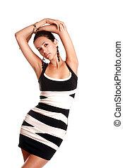 smukke, slide, unge, herskabelig, voksen, pige, klæde, hvid