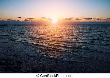 smukke, solnedgang, hav