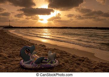 smukke, solnedgang, middelhavet, sea.