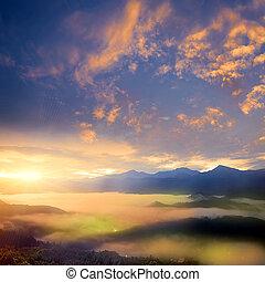 smukke, solopgang, ind, den, bjerg