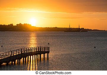 smukke, solopgang, ind, den, sommer, af, den, stille, hav