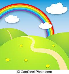 smukke, sommer, landskab, regnbue