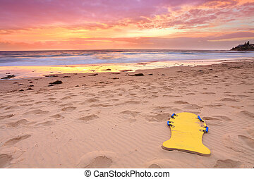 smukke, sommer, strand, solopgang, australien