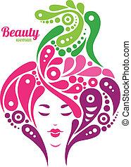 smukke, tatovering, kvinde, natur, abstrakt, silhouette., konstruktion, hair., pige