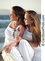 smukke, teenager, søstre
