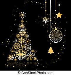 smukke, træ, jul