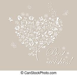 smukke, træ, lykønskning, card