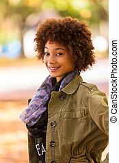 smukke, udendørs, folk, -, unge, efterår, amerikansk kvinde, sort, afrikansk, portræt