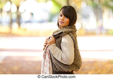 smukke, udendørs, folk, -, unge, efterår, portræt kvinde, kaukasisk