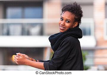 smukke, udendørs, unge, amerikansk kvinde, afrikansk, portræt