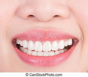 smukke, ung kvinde, tænder