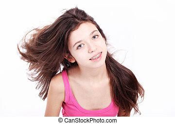 smukke, unge, teenager pige, hos, arme, på, tænder, ind, hvid