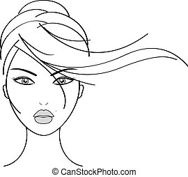 smukke, wo, vektor, illustration