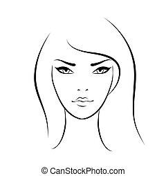 smukt ansigt, kvinde, ikon