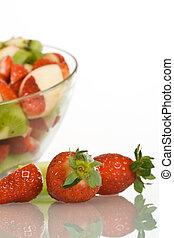 smultron, och, fruktsallad