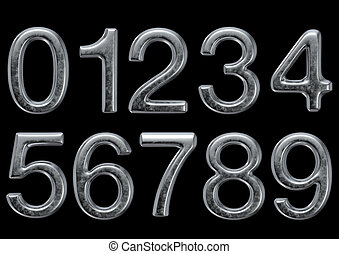 smussato, alfabeto, metallo, render, 3d