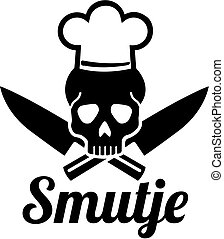 Smutje ship's cook skull with chefs hat and crosse knives