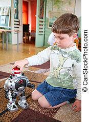 smutne dziecko, sam, z, robot, w, przedszkole