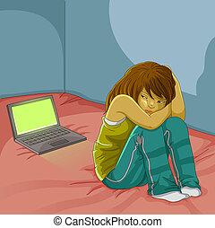 smutny, dziewczyna, laptop
