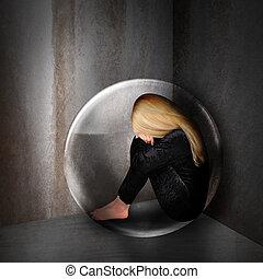smutny, przygnębiony, kobieta, w, ciemny, bańka