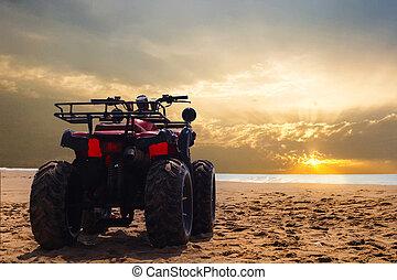 smuts, wheeler, fyra, sand, cykel, solnedgång, hav, under, ...