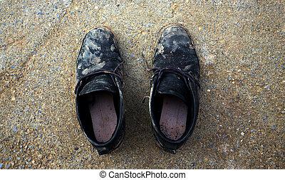 smutsa ner, gammal, skor